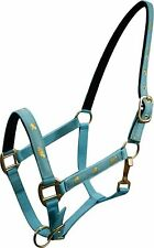 """TEAL Horse Size Nylon Halter With """"Running Horse"""" Overlay! NEW HORSE TACK!"""