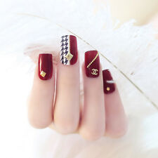NEW 24pcs 3D Claret-red Houndstooth Pattern False Tips Fake Nails Stickers N545