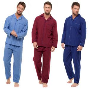Mens Plain Traditional Button Woven Pyjamas Set Sleeping Nightwear Pjs M-XXL
