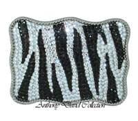 Zebra Crystal Belt Buckle with Swarovski Crystals & Genuine Leather Belt
