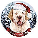 Holiday Pet Gifts Clumber Spaniel Lemon/White Dog Santa Hat Porcelain Ornament