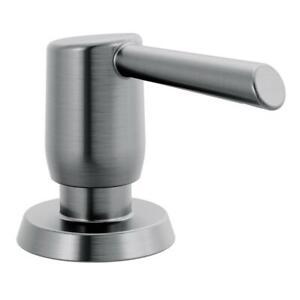 Essa Deck Mount Metal Soap Dispenser in Arctic Stainless by Delta