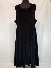 Fads Petite Large Black Sleeveless Button Front Full Length Empire Waist Dress