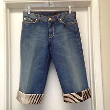 ROBERTO CAVALLI Blue Jean Denim Capri Pants Long Shorts Animal Trim Sz 42 EUC