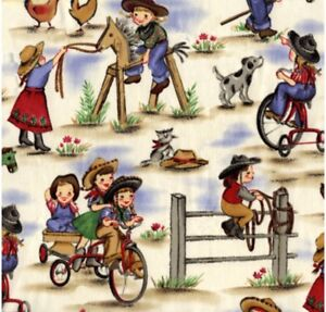 Michael Miller Lil Cowgirl Fabric  Sold by HALF of a METRE W44""
