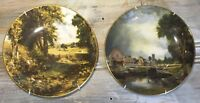 "VTG '92 Crown Staffordshire England ""John Constable"" 7½"" Art Plate Hanger Set 2"