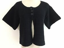 French Connection Short Top-Button Cardigan Sweater Black Wool Blend Size S