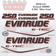 2010+ Evinrude 250HO E-TEC WC Outboard 14Pc Decals for White Cowl Saltwater