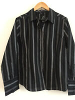 Ladies EVIE Black & Grey Striped Long Sleeves Shirt/Blouse NEW WITH TAG UK 20