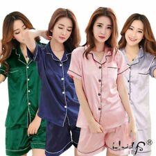 Womens Silk Satin Pajama Sets Short Sleeve Sleepwear Homewear Night Wear Plus