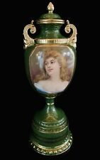 Antique Royal Vienna Green Porcelain Bolted Urn Lovely Transfer Portrait Lady
