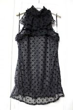 Liu Jo black polka dot top sleeveless chiffon blouse vest pois