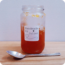 100 HANDMADE BY PERSONALISED STICKERS LABELS STICKY square jam jars
