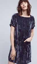 Anthropologie Floreat Crinkled Velvet Tunic Dress XS EUC Navy Blue