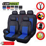 Universal Car Seat Covers Protector Leather Blue Split Rear Airbag Compatible