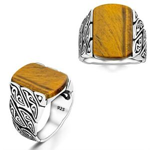 Solid 925 Sterling Silver Tiger's Eye White Turquoise Green Gemstone Men's Ring