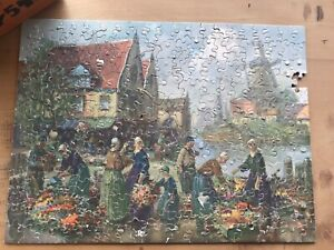 Vintage JIGETTE PICTURE PUZZLE #98 Holland Scenery Windmill River 25 Special Pcs