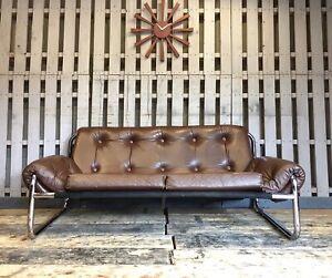Chrome Tube Brown Leather Sofa Vintage Retro Mid Century , Pieff , Kinsman Style