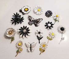 VINTAGE ENAMEL FLOWER FLORAL BROOCH PIN LOT BLACK WHITE BUTTERFLY signed