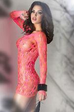 Abito mini abito traforato retato fluo neon Pink Seamless Mini Dress Chemise