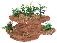 Rock with Artificial Plants Aquarium Ornament Terrarium Vivarium Decoration