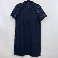 J Crew Womens Short Sleeve Eyelet Shirt Dress Navy Blue Pockets Size 6
