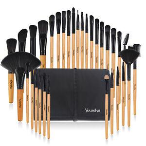 32Pcs Pro Makeup Brushes Powder Foundation Brushes & Luxury Bag Nature Wood UK