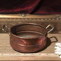 Vintage Handmade Small Oval Copper Pot Cauldron Kettle w/Brass Handles