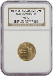 2001 W CAPITOL $5 GOLD COIN US VAULT COLLECTION L/M. NGC: MS 70. 3248387-007