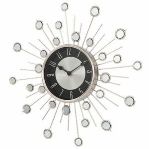 HOME MODERN SATELLITE SUNBURST STARBURST CLOCK MIRROR EFFECT WALL DECOR SILVER