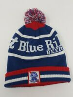 Pabst Blue Ribbon Knit Winter Beanie Pom Hat Mens Womens Unisex One Size PBR