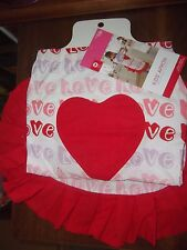 Girls Valentine Apron White with Red Trim and Large Red Heart