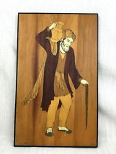 Indo Persian Painting Art Hand Painted Inlaid Wood Signed Farsi Wooden Marquetry
