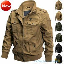 Mens Warm Jacket Military Cargo Pilot Coats MA-1 Bomber Jackets Casual Outwear
