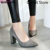 Women Pumps Flock Square High Heel Platform Pointed Toe Wedding Shoes Size 34-43