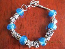 Elements of Swarovski Murano Charm Bracelet Silver / Blue