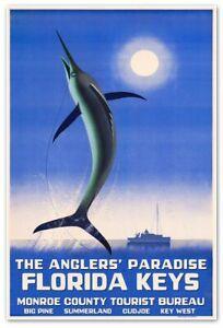 FLORIDA KEYS Travel Print - Key West Summerland Cudjoe Big Pine - Fishing Poster