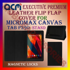 ACM-EXECUTIVE LEATHER FLIP CASE for MICROMAX CANVAS TAB P290 STAND CASE-BLACK