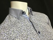 "Mancini  18 1/2""Collar  Chest Measures 53""  Flower Shirt Contrast Collar RRP£169"