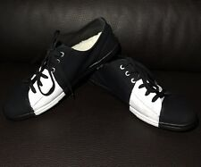 CHANEL CC Black White Canvas Leather Lace Up Kicks Sneakers Flats Trainer Shoes