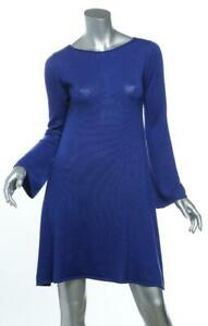 YVES SAINT LAURENT Womens Blue Cashmere Silk Knit Knee-Length Sweater Dress L