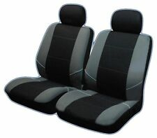 Black Grey UNIVERSAL FRONT CAR SEAT COVERS Inc Headrests  Washable & Airbag Safe
