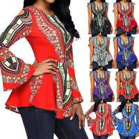 Fashion Women Asymmetric Hem Long Sleeve Printed Zipper Closure Blouse Tops