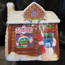 NEW M&M Ceramic Christmas Ski Lodge Cabin Candy Dish Jar Cookie Canister 2003
