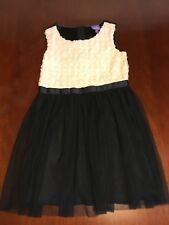 Bebop Girls Dress Medium Holiday Black White S/S Rosettes Cream Ivory Wedding