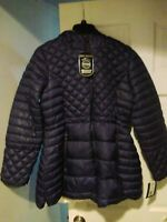 NWT Womens Steve Madden Glacier Shield Navy Blue Warm Down Puffer Jacket Hood
