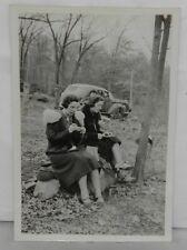 Orig 1930s Snapshot Photo 2 Women Sitting in Woods Doing Needlepoint w/ Auto