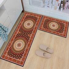 New2 Pcs Non-Slip Kitchen Mat Rubber Backing Doormat Runner Rug Gray
