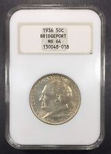 1936 Bridgeport Comm. Half Dollar NGC MS-64, Old NGC Holder, Buy 3 Get $5 Off!!!