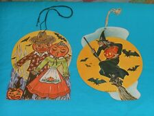 vintage lot of 2 Halloween Decorations scarecrow man + woman witch on broomstick